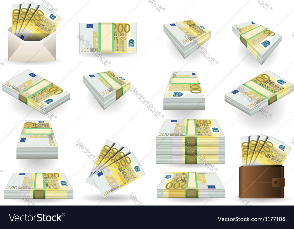 Full set of two hundred euros banknotes vector | Price: 3 Credit (USD $3)