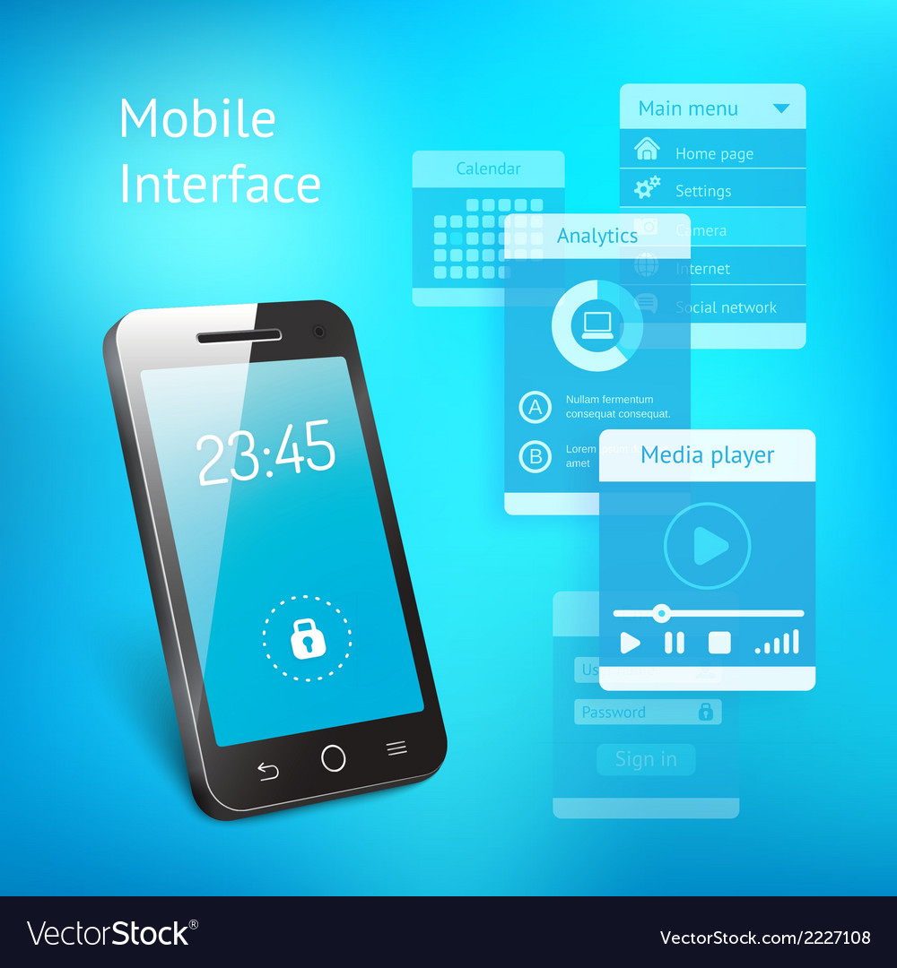 Mobile phone with elements for the user interface vector | Price: 1 Credit (USD $1)