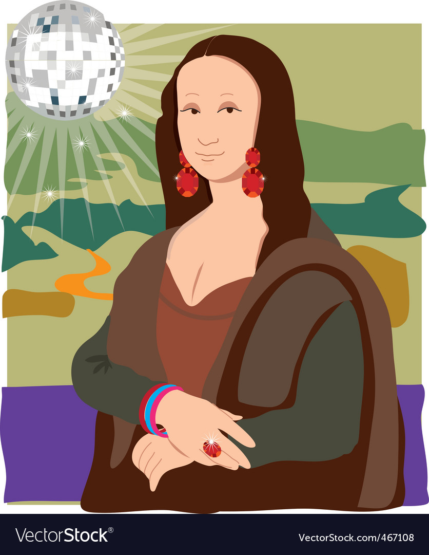 Mona lisa disco lady vector | Price: 1 Credit (USD $1)