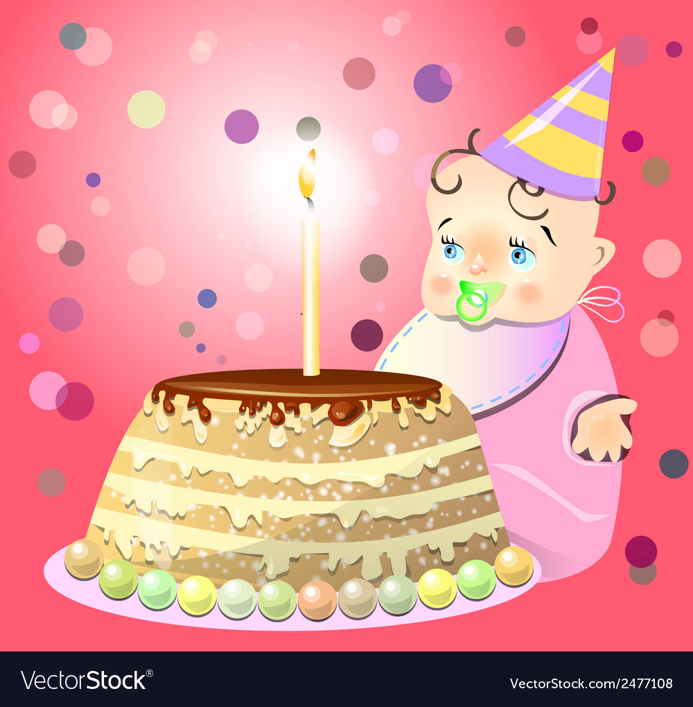 One birthday celebrate cake baby vector | Price: 1 Credit (USD $1)