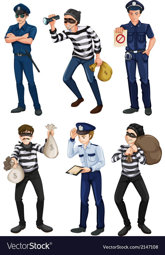 Police officers and robbers vector | Price: 3 Credit (USD $3)