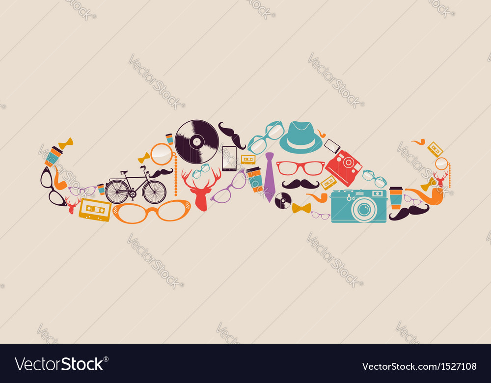 Retro hipsters icons mustache vector | Price: 1 Credit (USD $1)