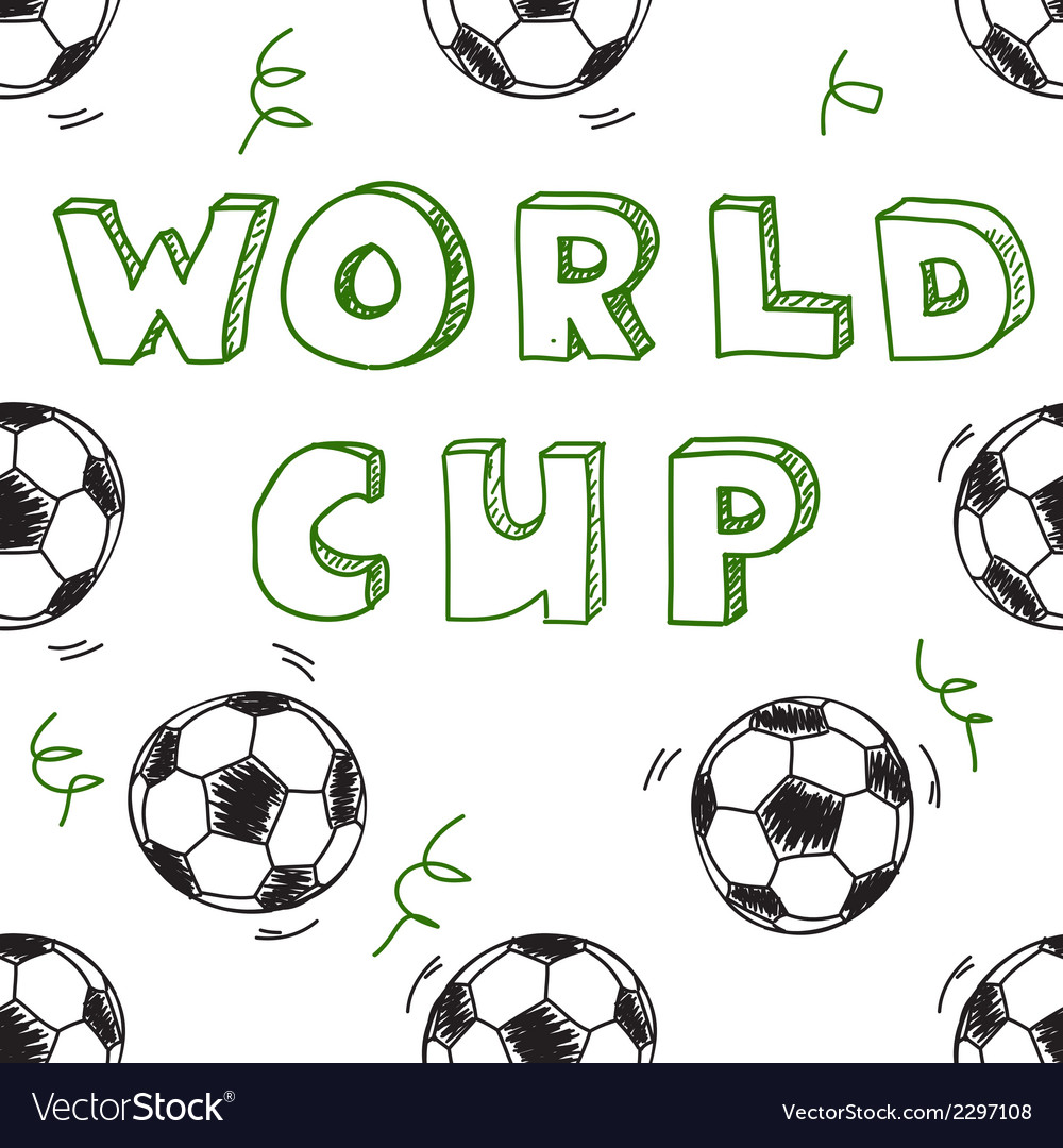 Seamless pattern with text world cup vector | Price: 1 Credit (USD $1)