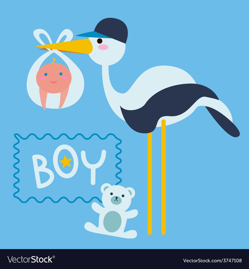 Stork bird with baby boy vector | Price: 1 Credit (USD $1)