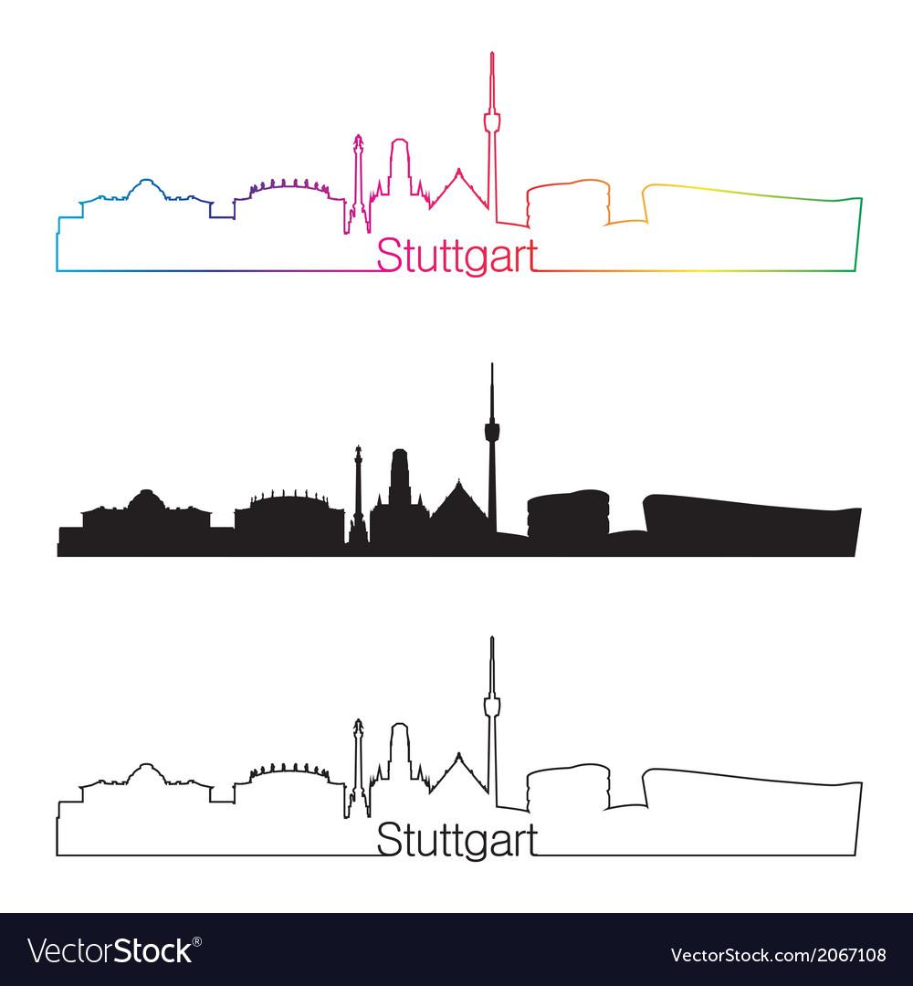 Stuttgart skyline linear style with rainbow vector | Price: 1 Credit (USD $1)
