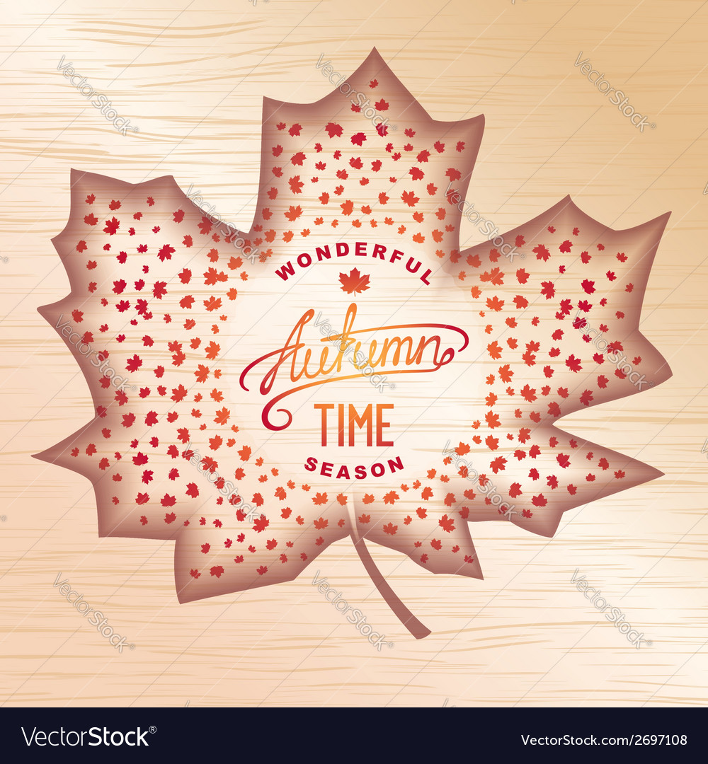 Wooden autumn banner vector | Price: 1 Credit (USD $1)