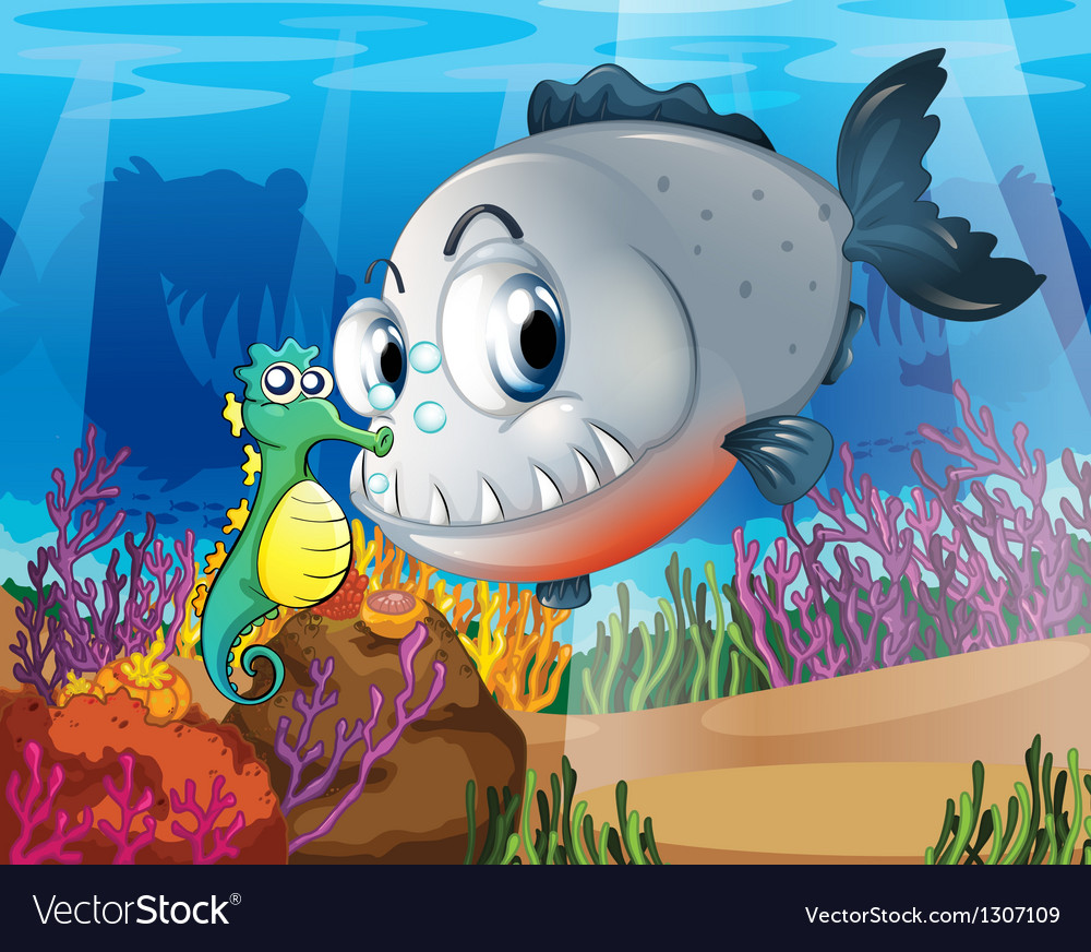 A piranha and a seahorse under the sea vector | Price: 1 Credit (USD $1)