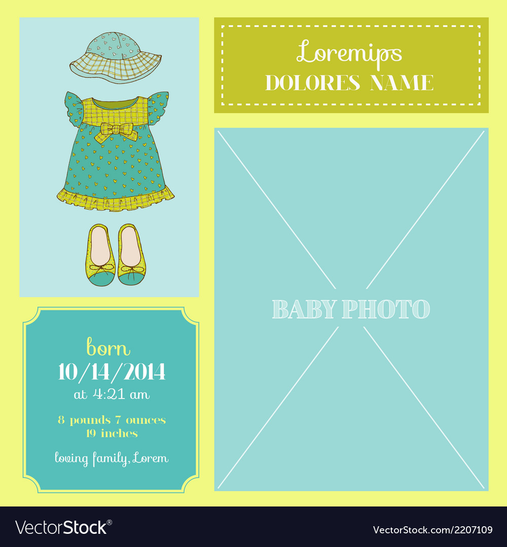 Baby arrival card - with baby girl dress vector   Price: 1 Credit (USD $1)