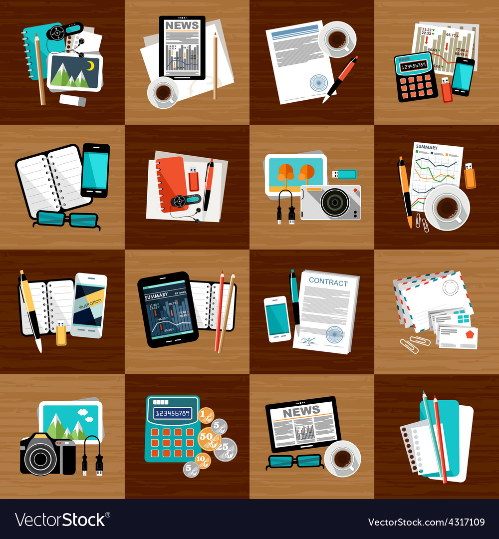 Business workplace with office things vector | Price: 1 Credit (USD $1)