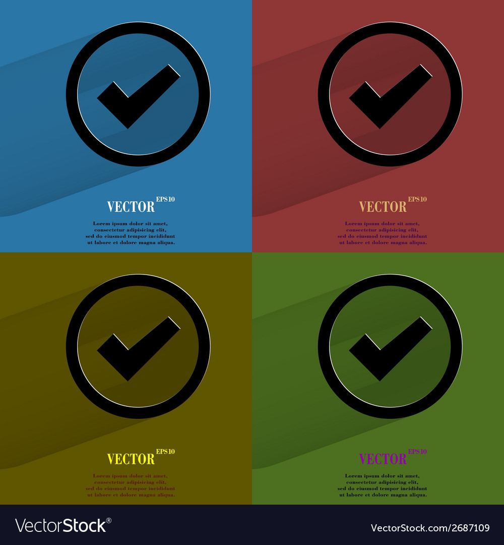 Color set check mark flat modern web button with vector | Price: 1 Credit (USD $1)
