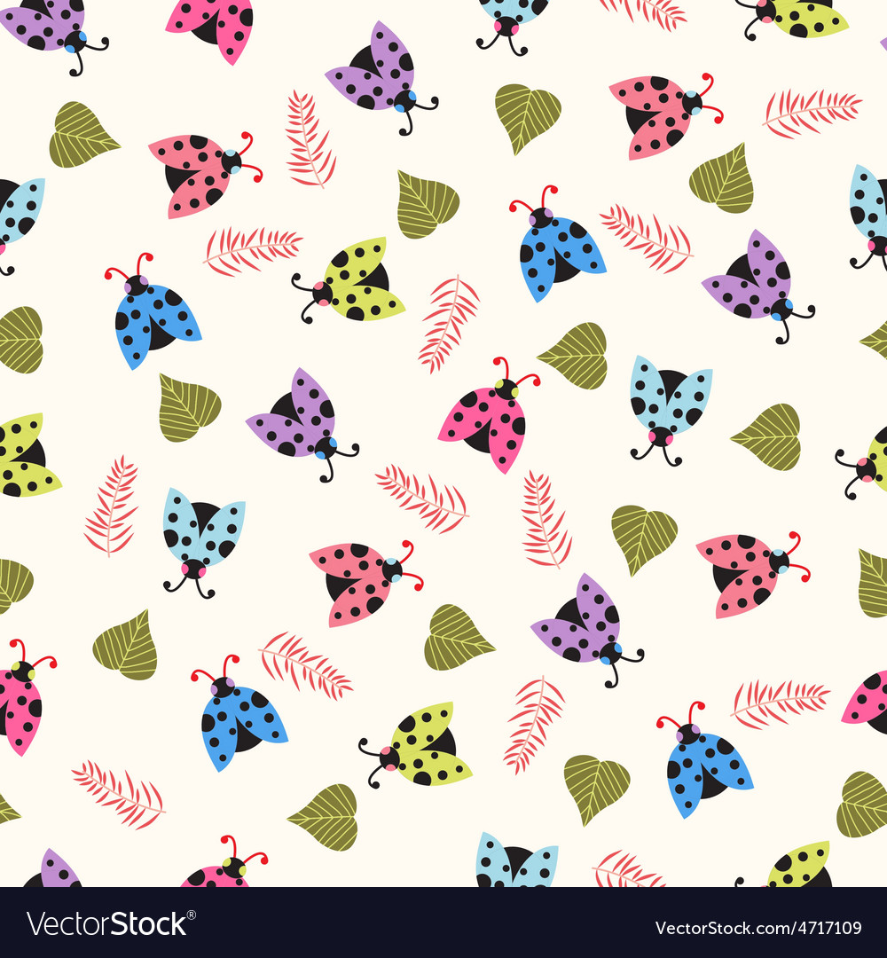 Cute background with ladybugs vector | Price: 1 Credit (USD $1)