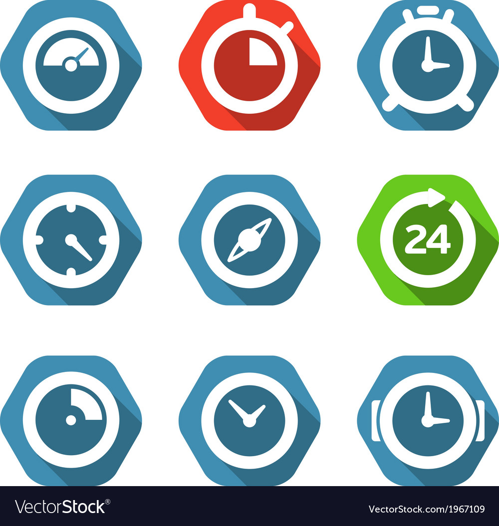 Different clock buttons collection vector | Price: 1 Credit (USD $1)