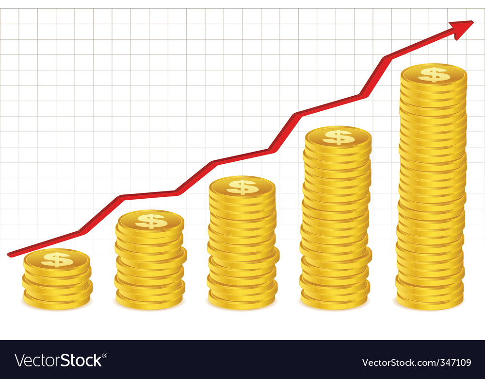Dollar coins with growth arrow vector | Price: 1 Credit (USD $1)