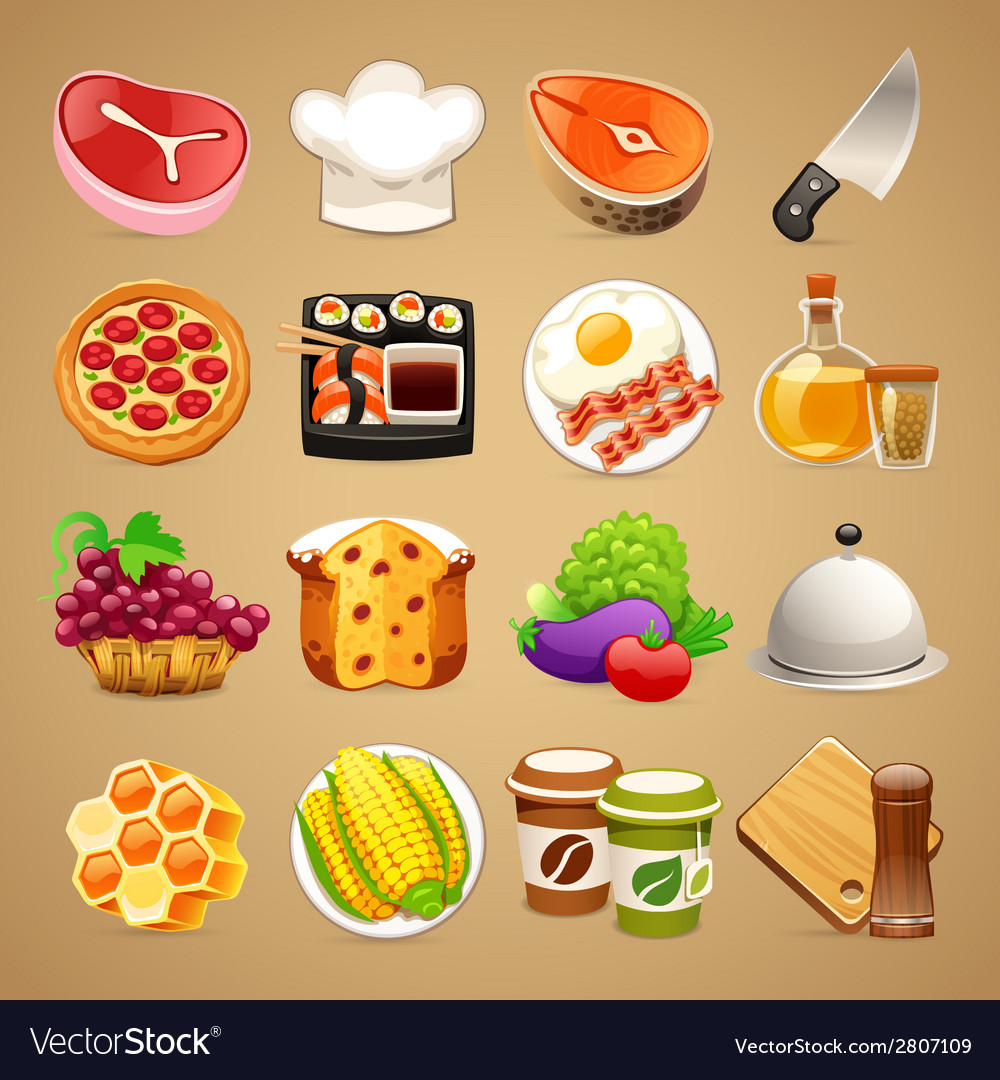 Food and kitchen accessories icons set11 vector | Price: 1 Credit (USD $1)