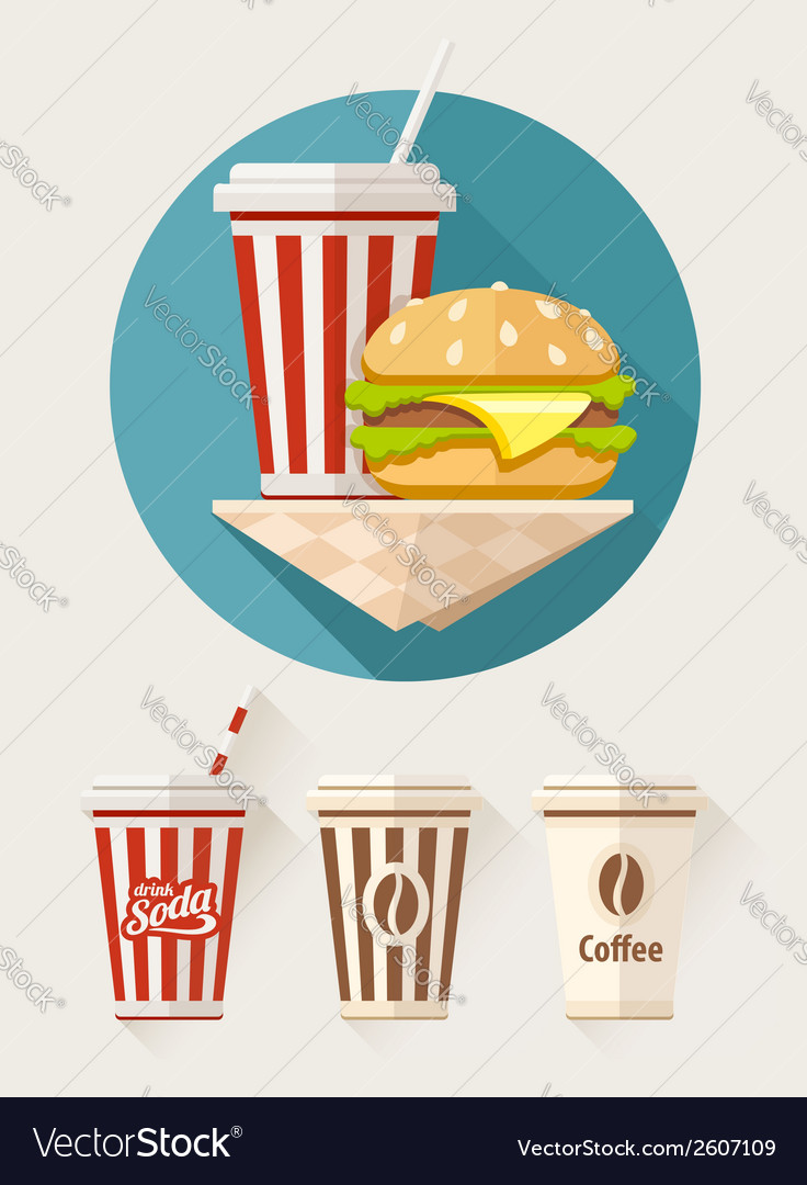 Hamburger and soda in paper vector | Price: 1 Credit (USD $1)