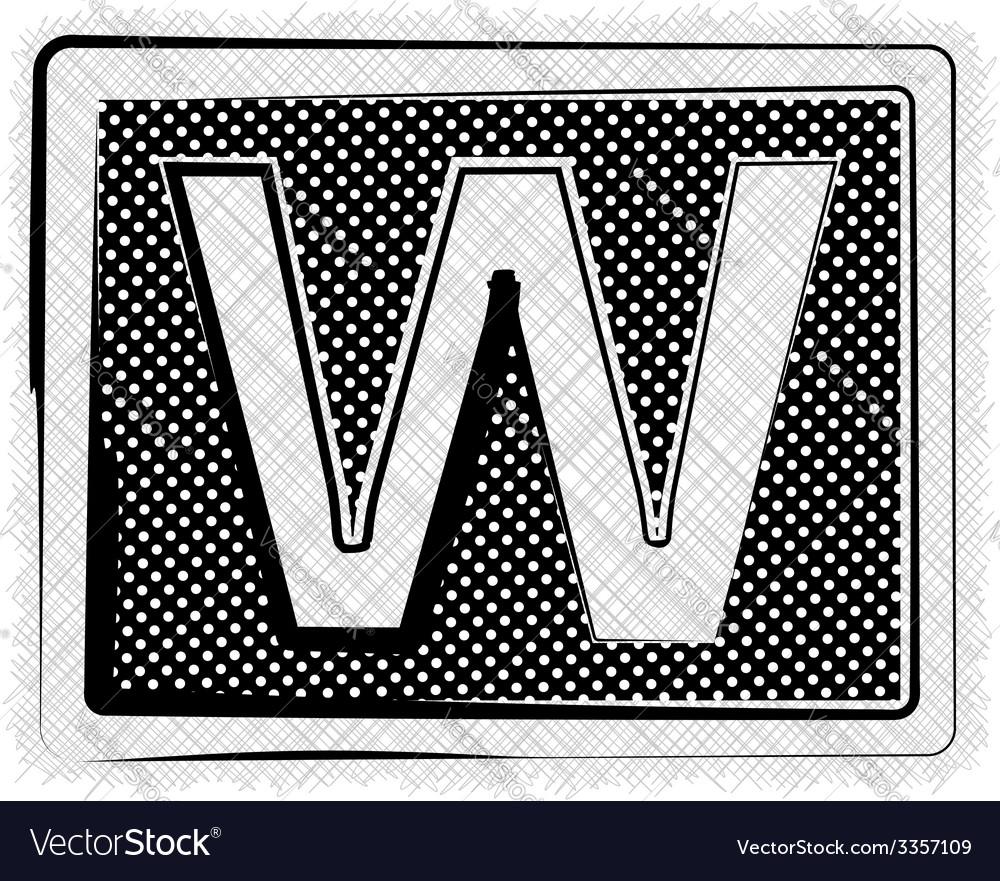 Polka dot font letter w vector | Price: 1 Credit (USD $1)