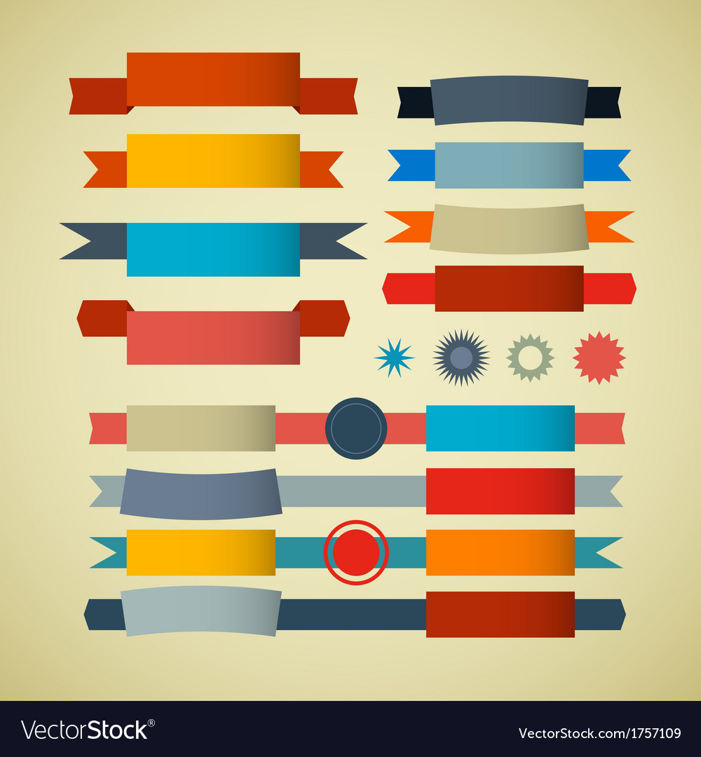 Retro ribbons labels tags set vector | Price: 1 Credit (USD $1)
