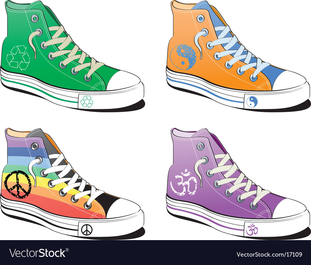 Shoes with peace symbol vector | Price: 3 Credit (USD $3)