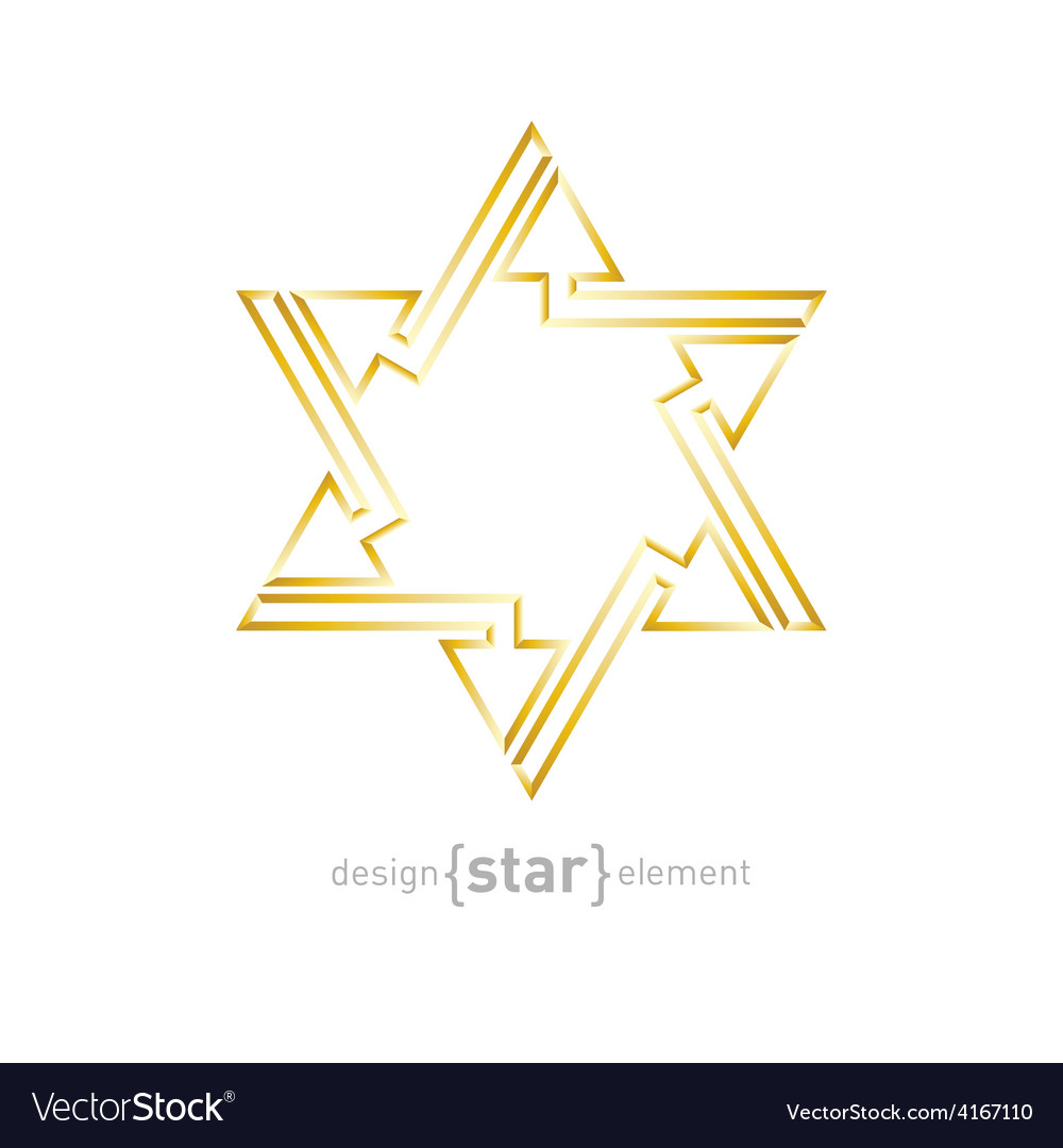 Abstract golden star with arrows on white vector | Price: 1 Credit (USD $1)
