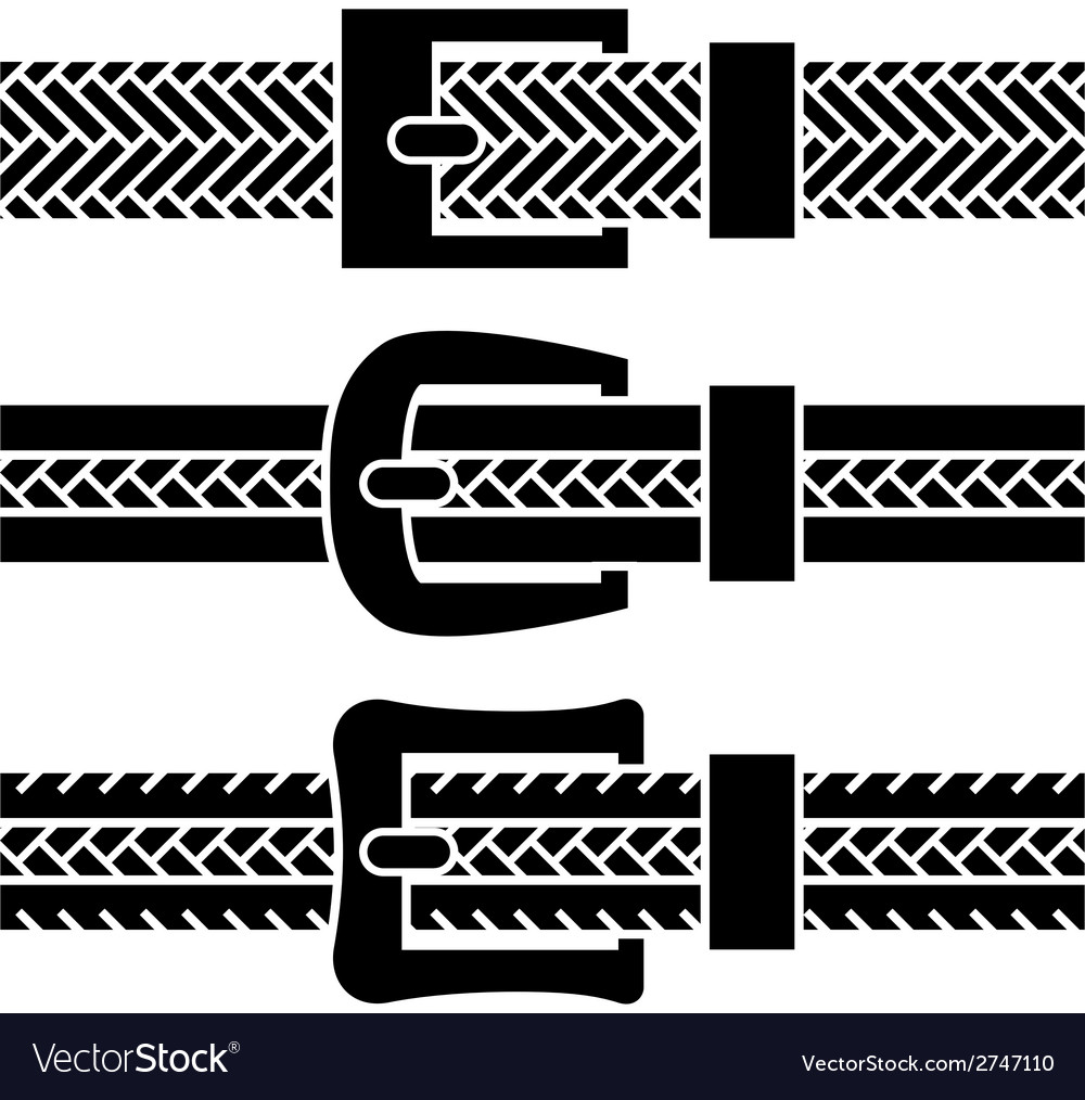 Buckle braided belt black symbols vector | Price: 1 Credit (USD $1)