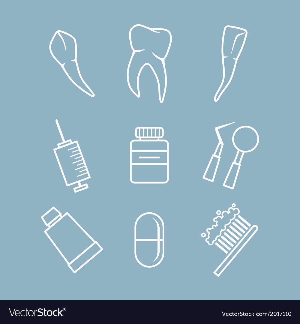 Dental icons set vector   Price: 1 Credit (USD $1)