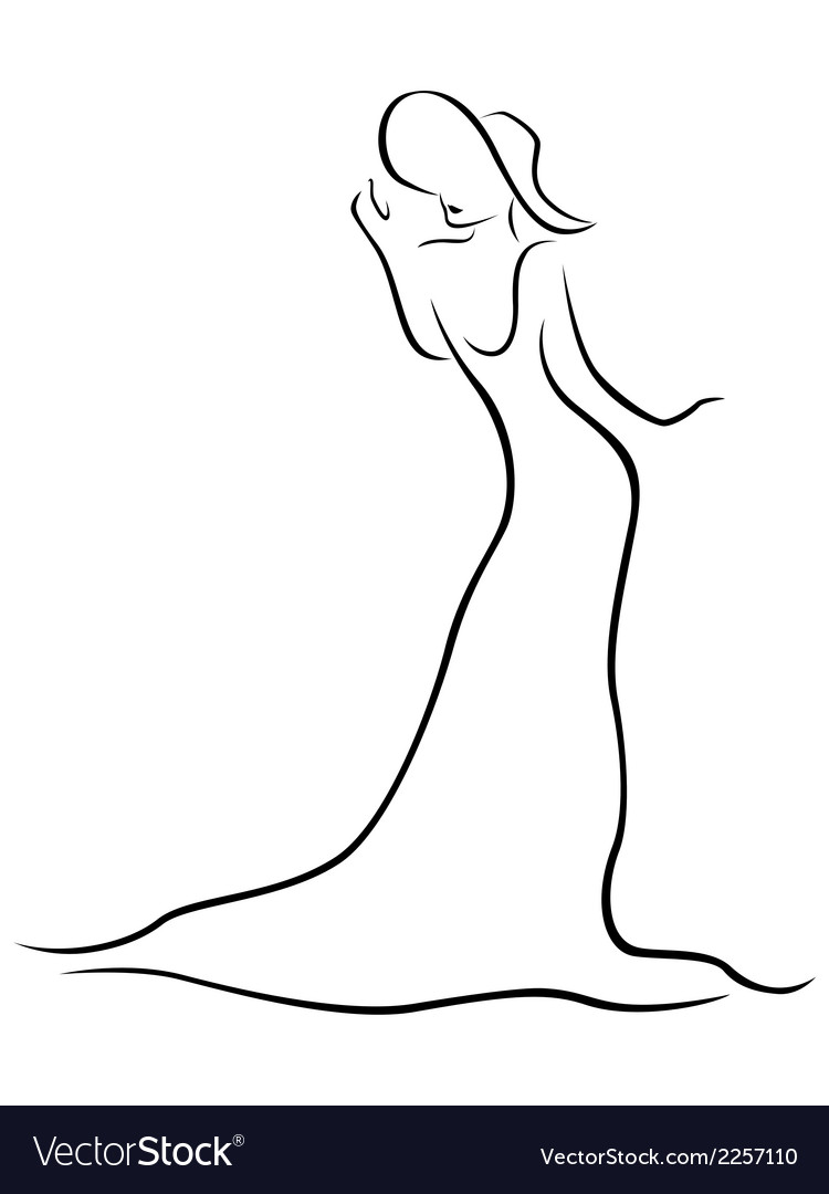Female contour with a hat and a long dress vector | Price: 1 Credit (USD $1)