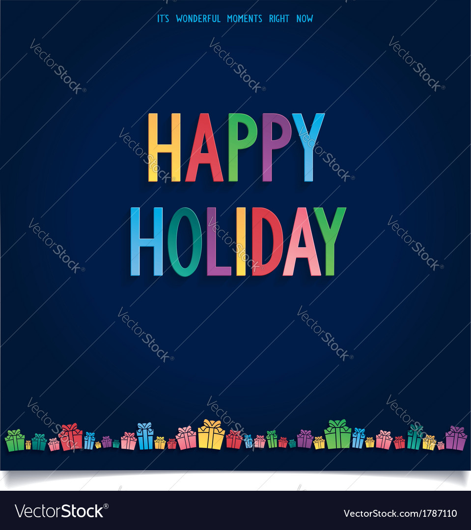 Happy holiday card with gift and letter in sweet s vector | Price: 1 Credit (USD $1)