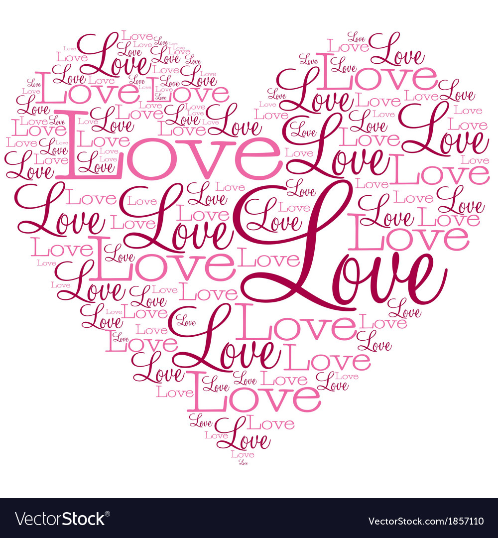 Heart made from words in format vector   Price: 1 Credit (USD $1)