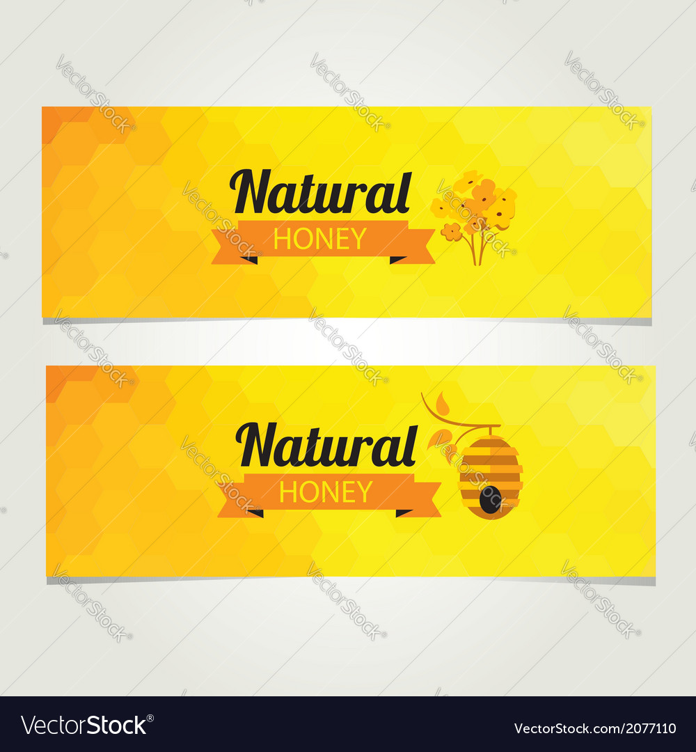 Honey banner abstract bee design vector | Price: 1 Credit (USD $1)