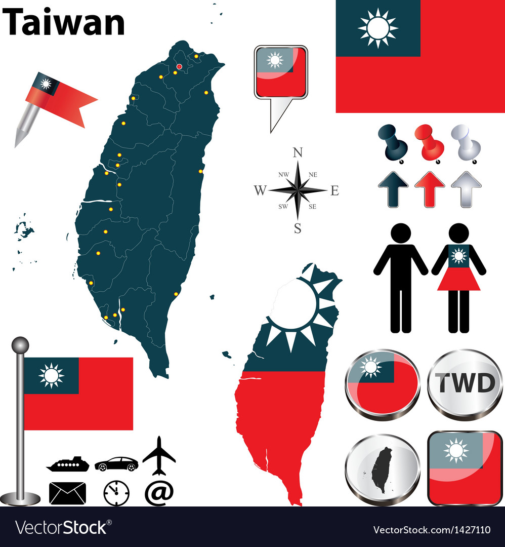 Map of taiwan vector | Price: 1 Credit (USD $1)