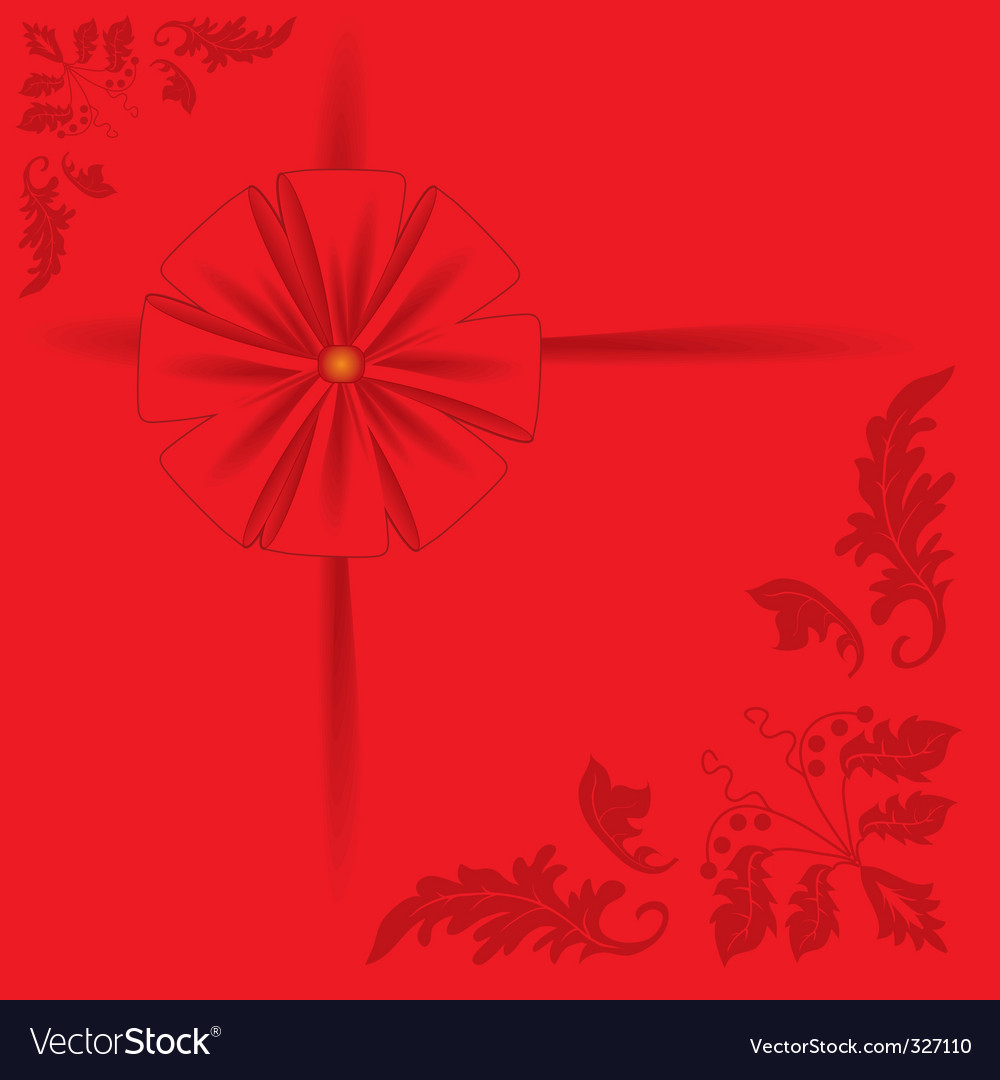 Red background with a bow vector | Price: 1 Credit (USD $1)