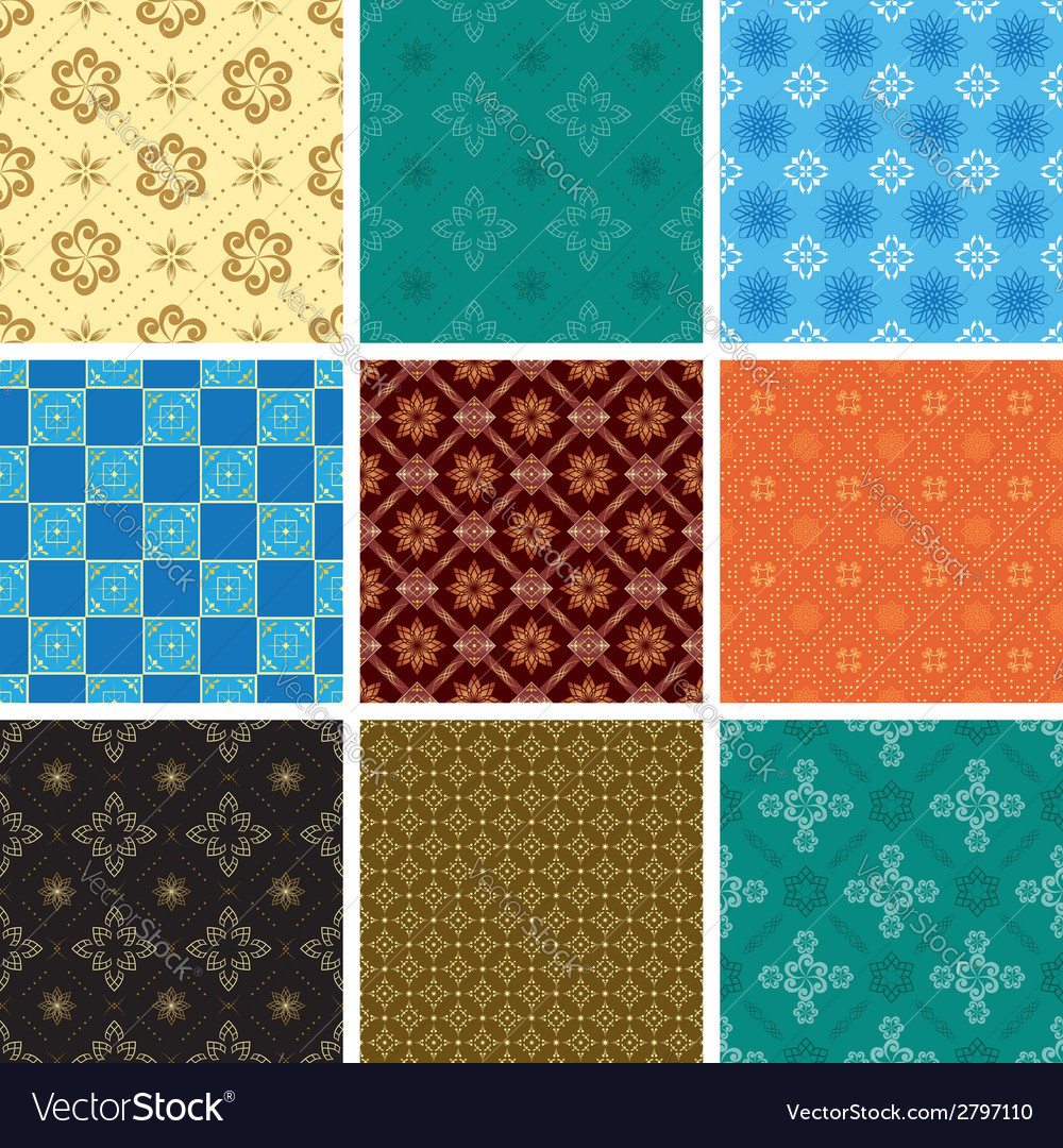 Set of color seamless pattern vector | Price: 1 Credit (USD $1)