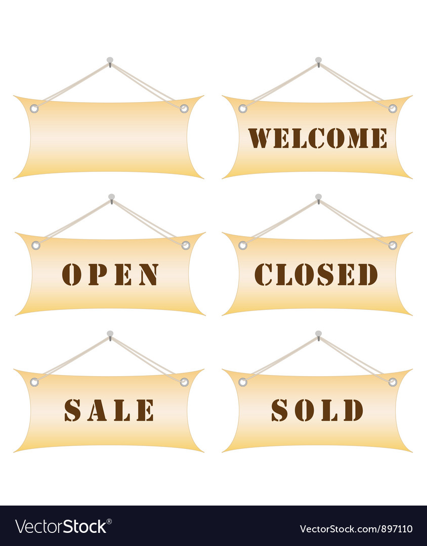 Set of shop notice boards vector | Price: 1 Credit (USD $1)