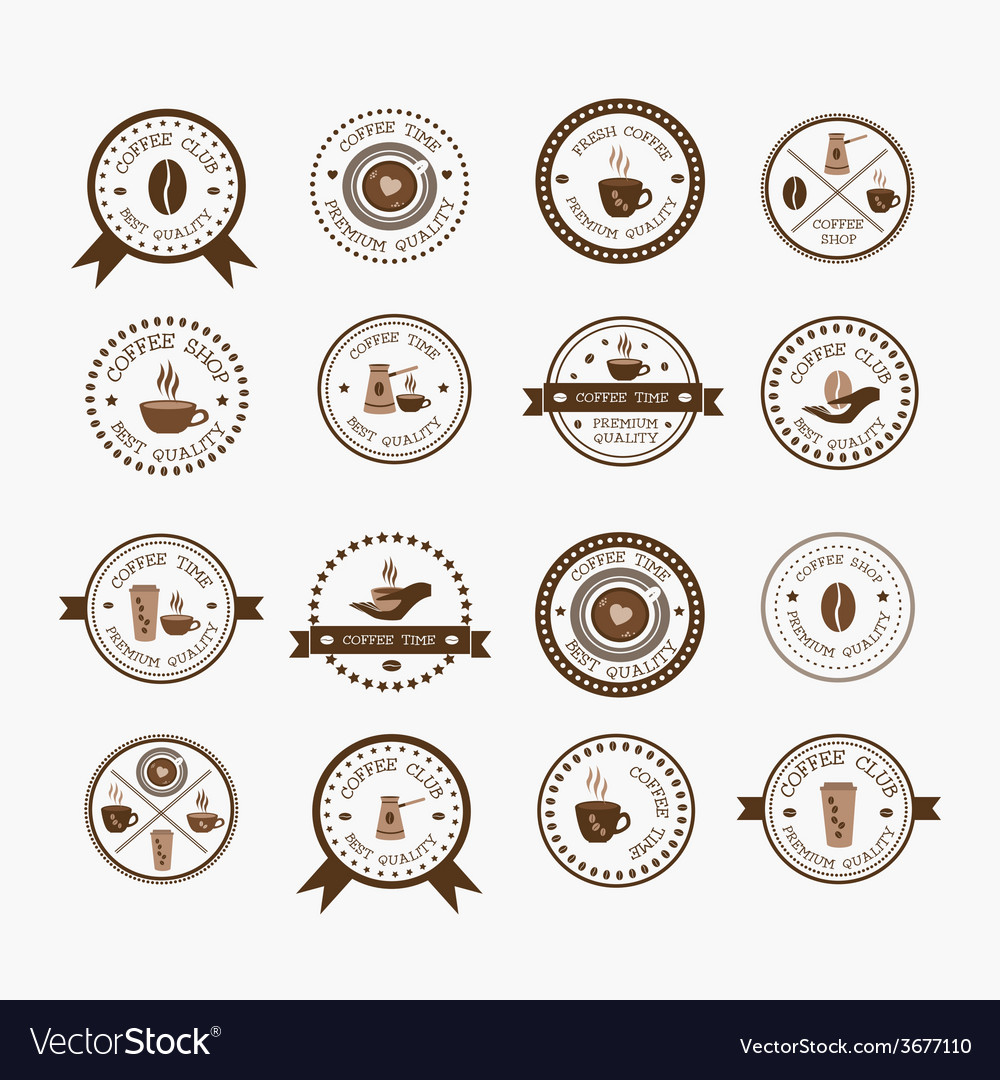 Set of vintage style elements of coffee shop vector | Price: 1 Credit (USD $1)
