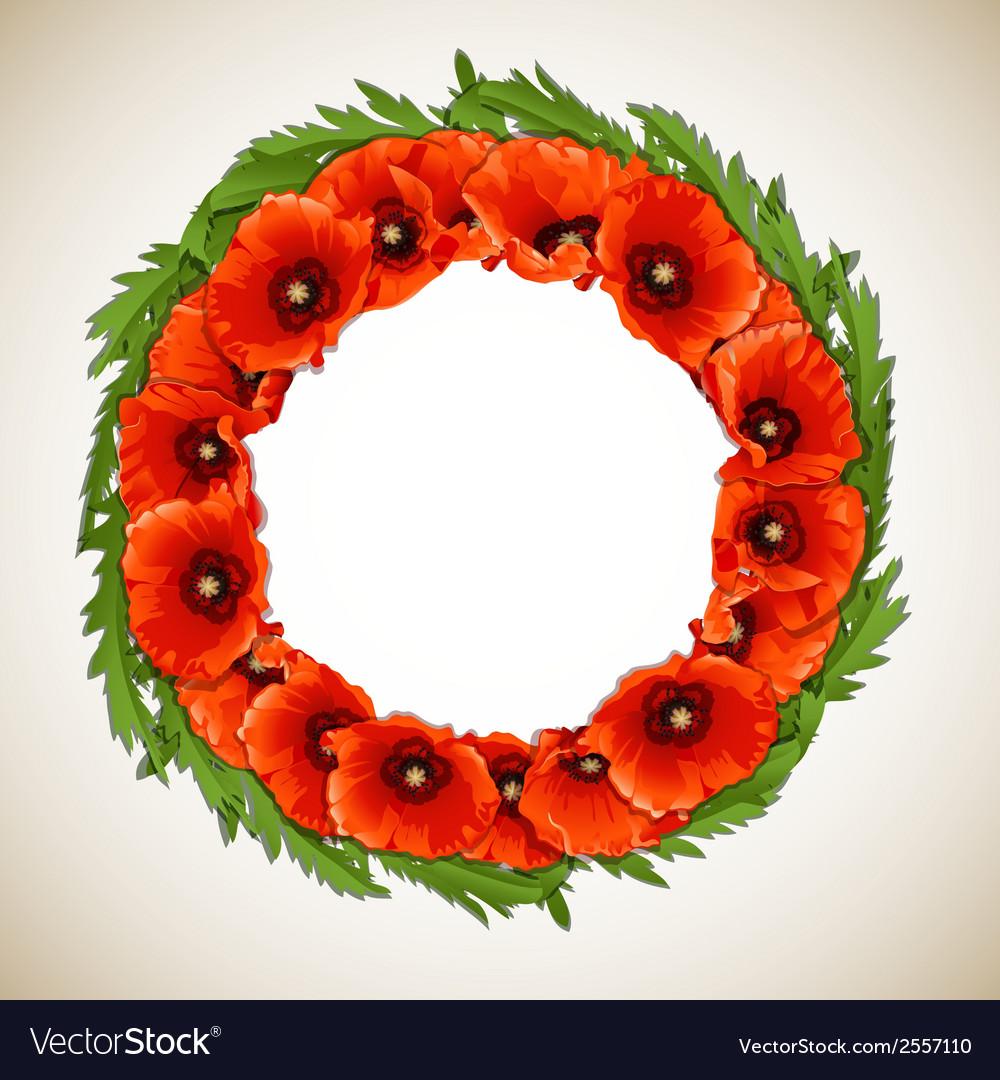 Wreath of poppies vector   Price: 1 Credit (USD $1)