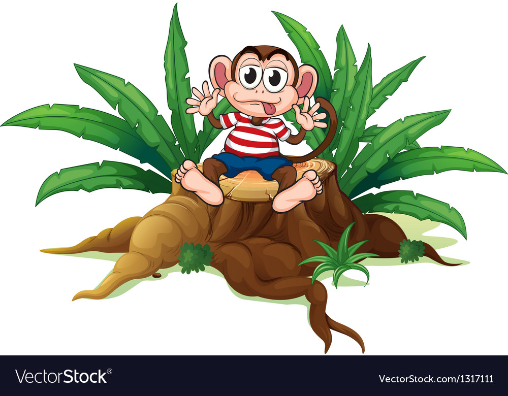 A monkey sitting above the chopped wood vector | Price: 1 Credit (USD $1)