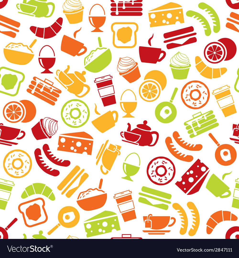 Breakfast seamless pattern vector | Price: 1 Credit (USD $1)