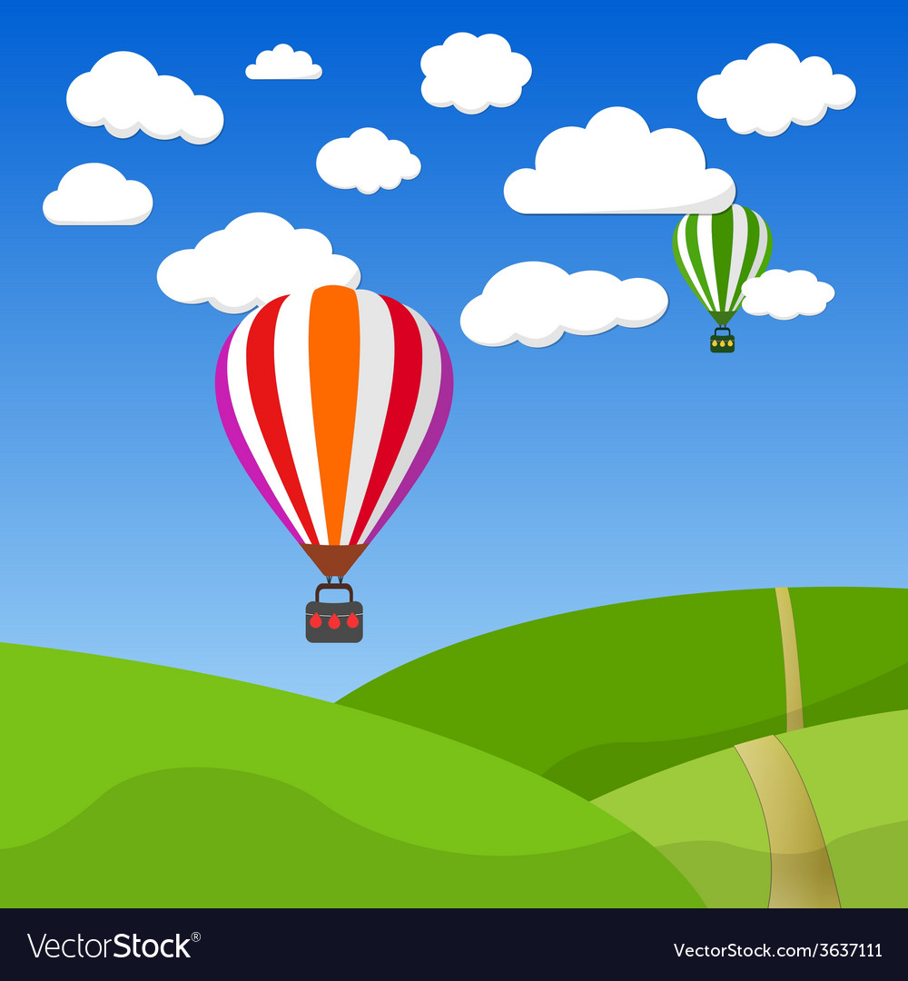 Cartoon retro air balloon on blue sky and green vector | Price: 1 Credit (USD $1)