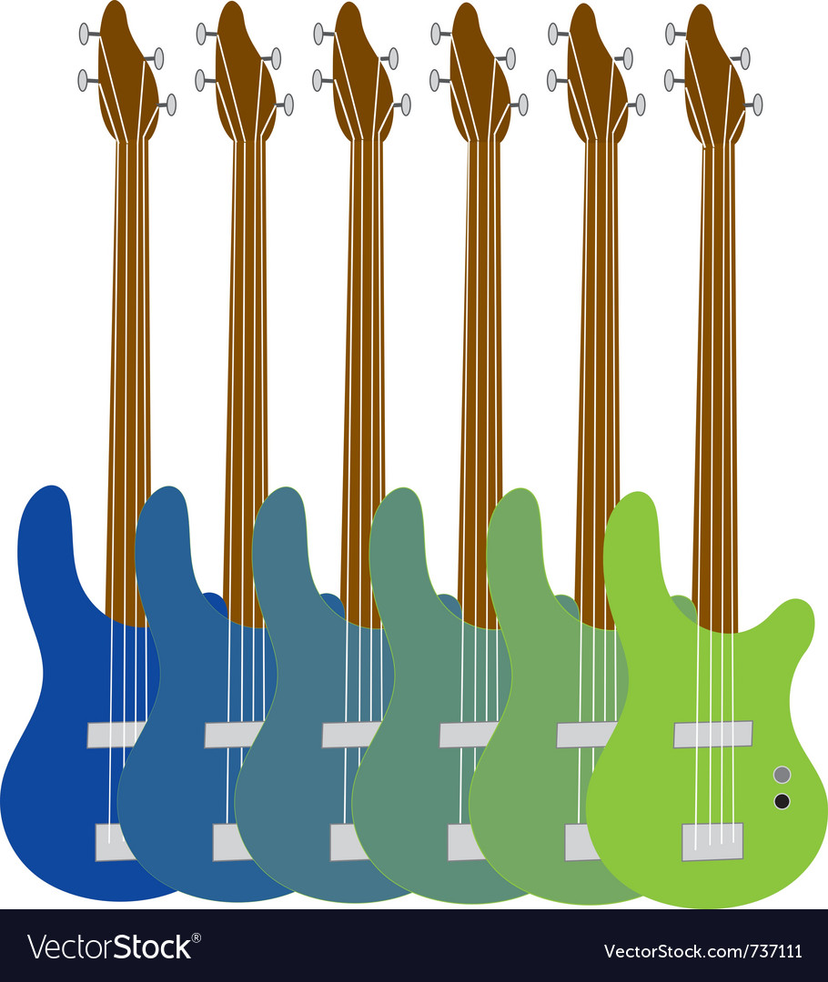 Colourful bass guitars vector | Price: 1 Credit (USD $1)