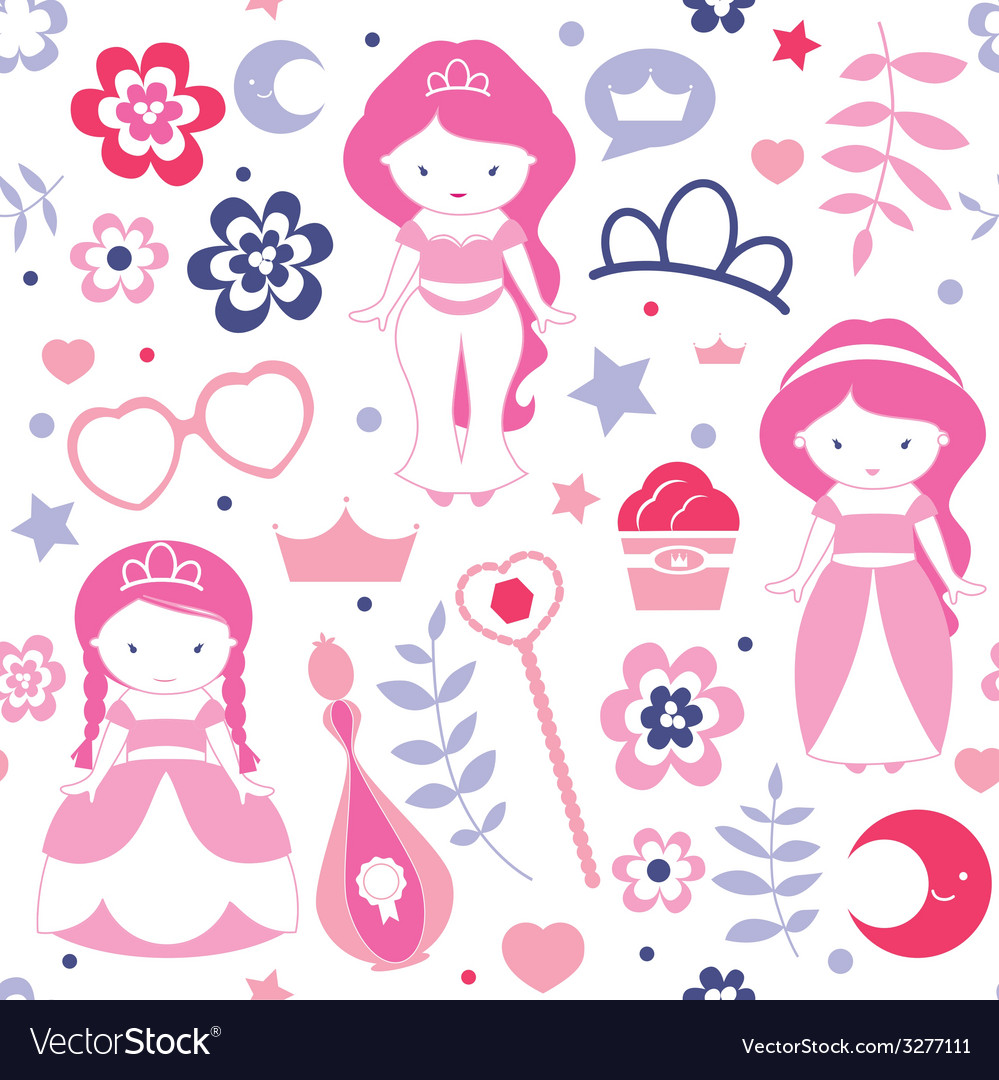 Cute pattern with princesses vector | Price: 1 Credit (USD $1)