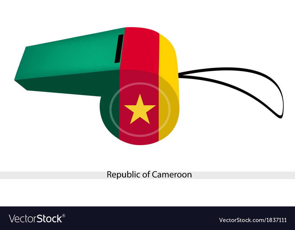 Green red and yellow stripes on cameroon whistle vector | Price: 1 Credit (USD $1)
