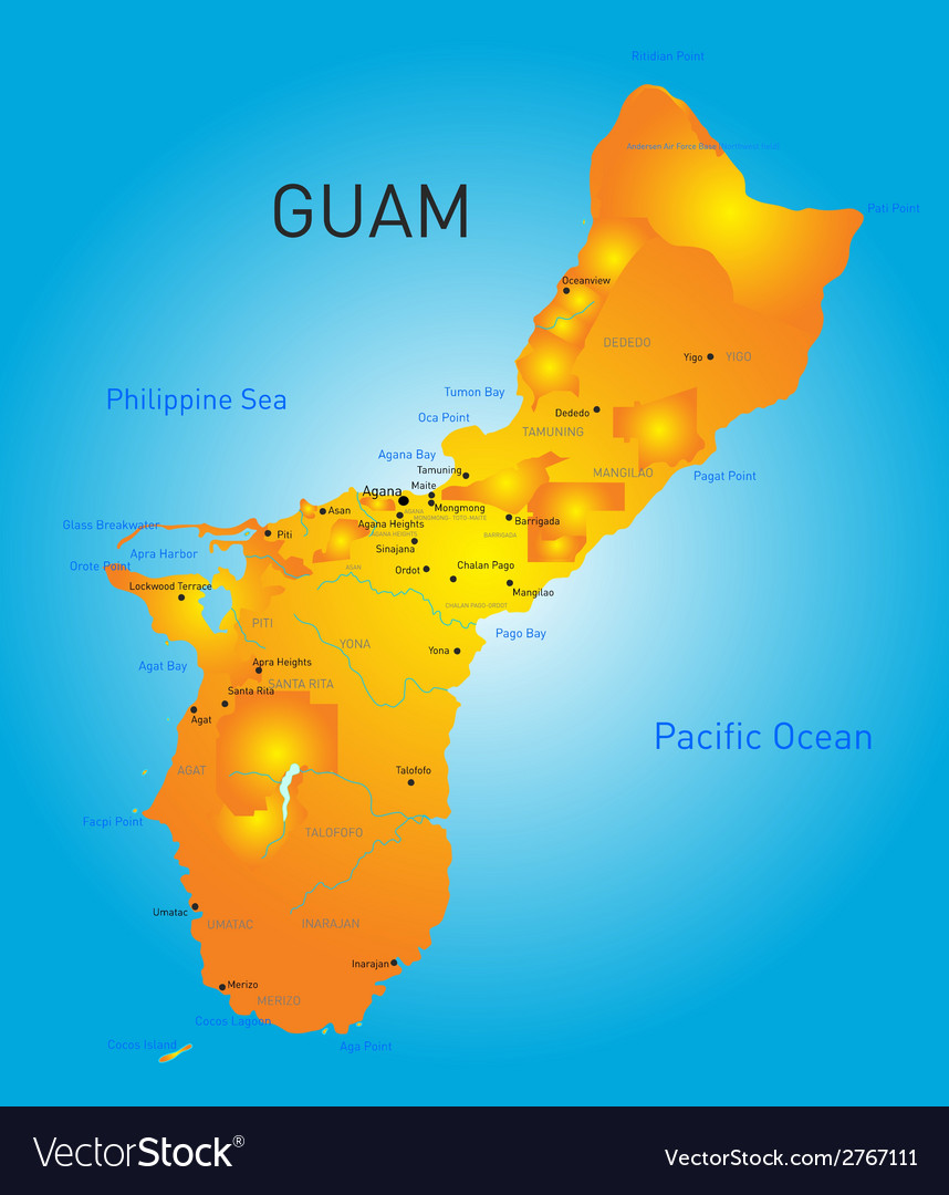 Guam map vector | Price: 1 Credit (USD $1)