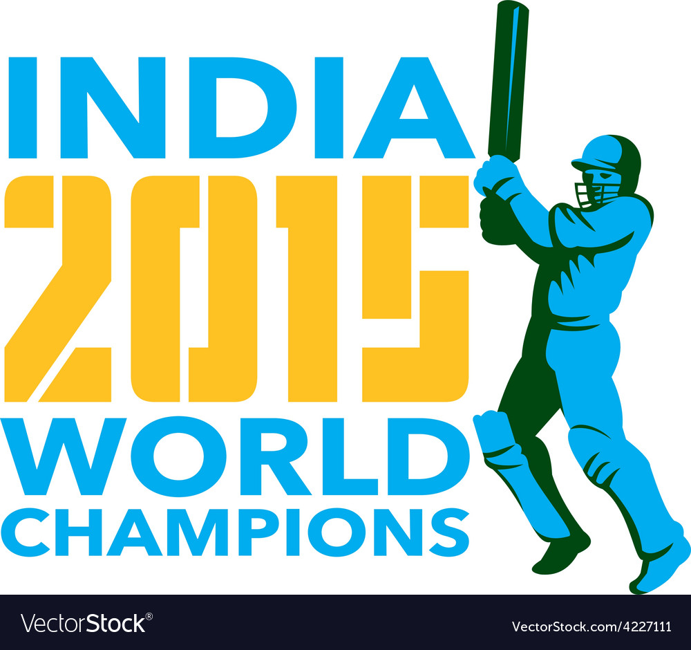 India cricket 2015 world champions isolated vector | Price: 1 Credit (USD $1)