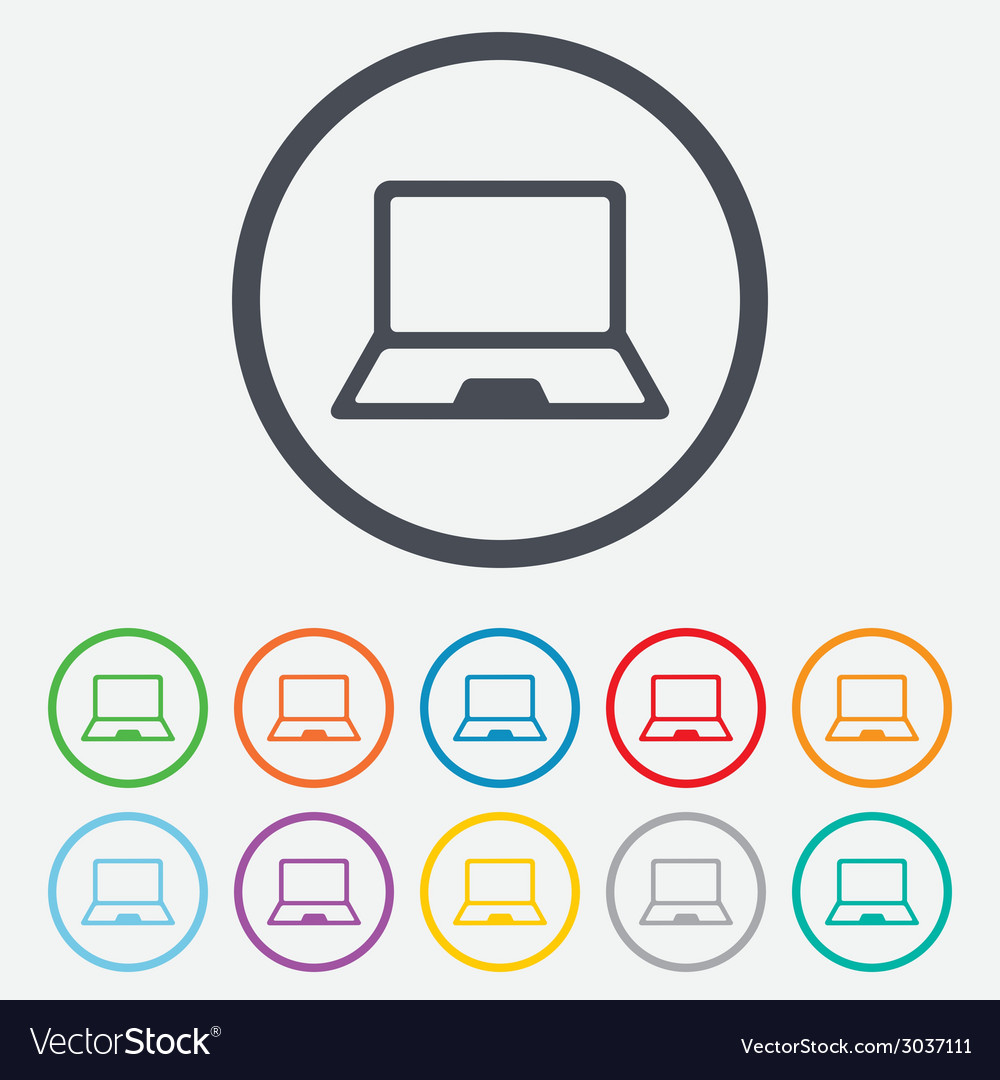 Laptop sign icon notebook pc symbol vector | Price: 1 Credit (USD $1)