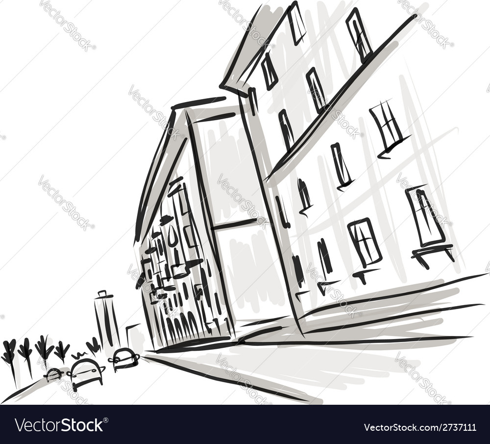 Old district sketch with city road for your design vector | Price: 1 Credit (USD $1)