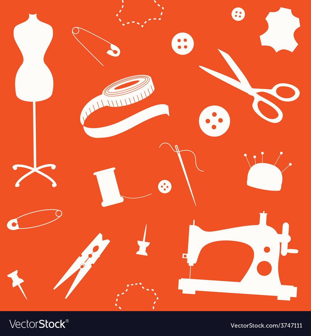 Orange seamless pattern with sewing machine and vector | Price: 1 Credit (USD $1)