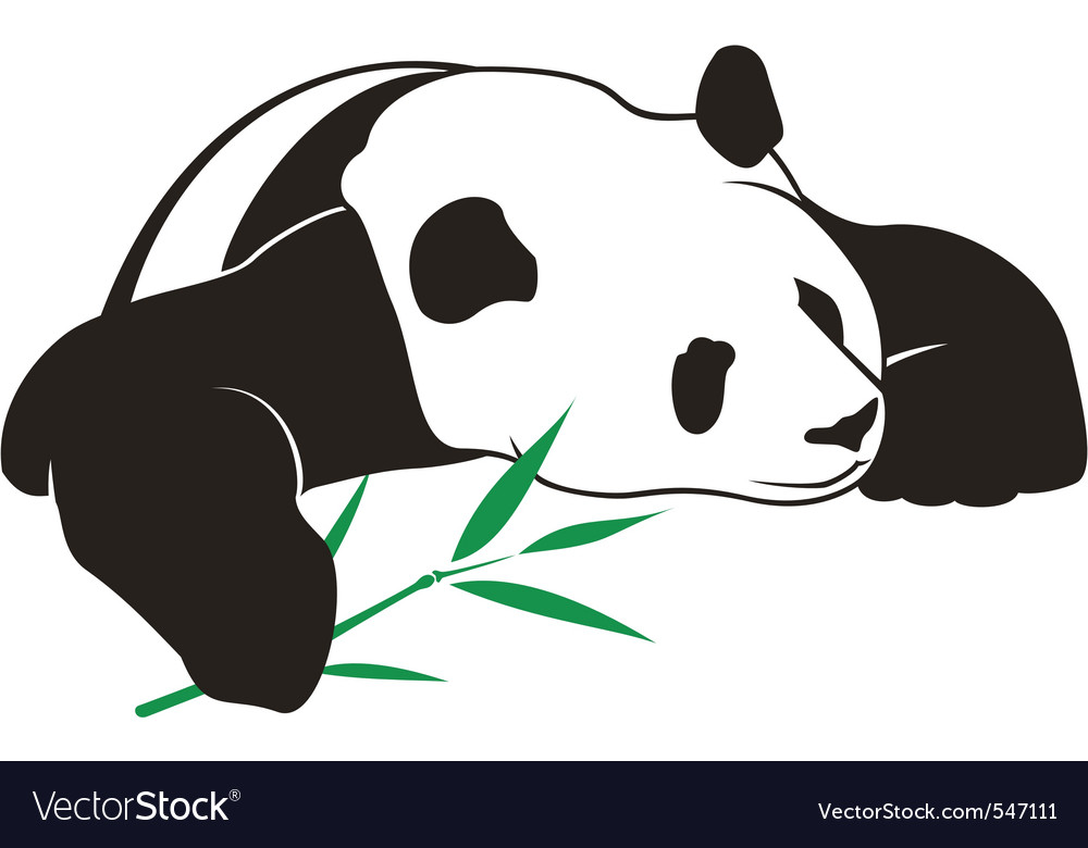 Panda with bamboo logo vector | Price: 1 Credit (USD $1)