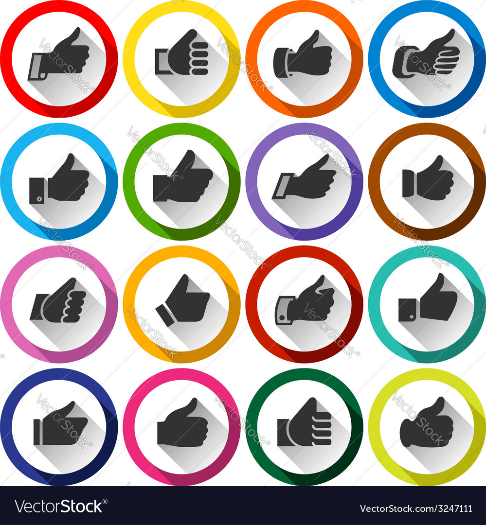 Thumbs up set round buttons vector | Price: 1 Credit (USD $1)