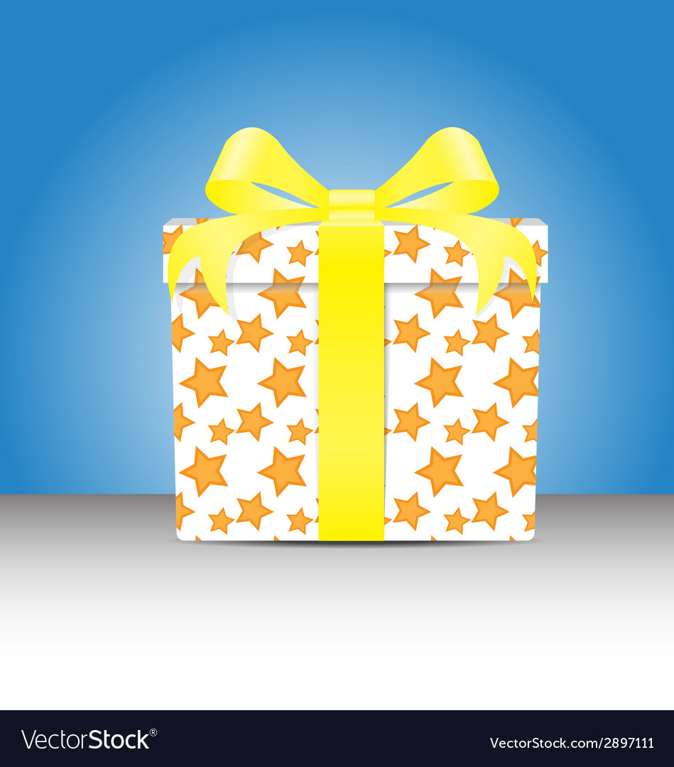 White gift box with a yellow star pattern tie yell vector | Price: 1 Credit (USD $1)