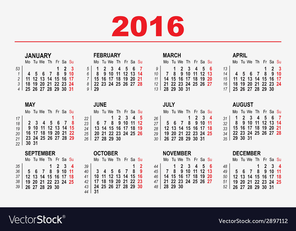 2016 calendar template vector | Price: 1 Credit (USD $1)